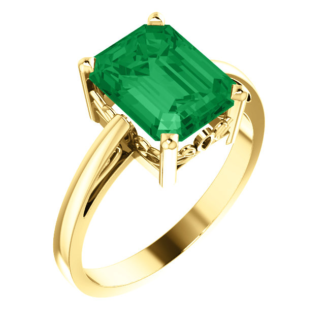 Genuine Chatham Created Emerald Ring in Alluring 14 Karat Yellow Gold 9x7mm Scroll Setting Ring Mounting