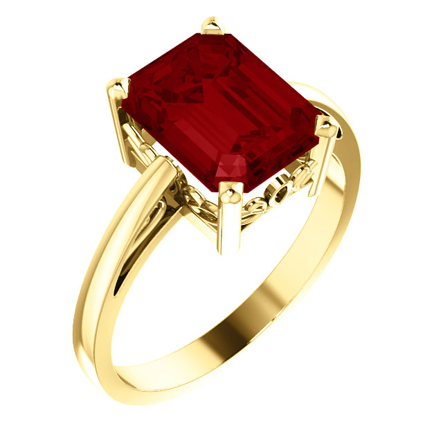 Chatham Created Ruby Ring in Natural 14 Karat Yellow Gold 9x7mm Scroll Setting Ring Mounting