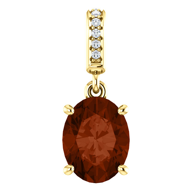 Contemporary 14 Karat Yellow Gold 9x7mm Mozambique Garnet & .03 Carat Total Weight Diamond Pendant