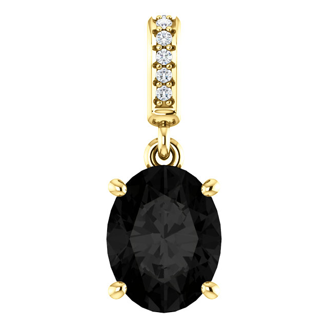 Wonderful 14 Karat Yellow Gold 9x7mm Onyx & .03 Carat Total Weight Diamond Pendant