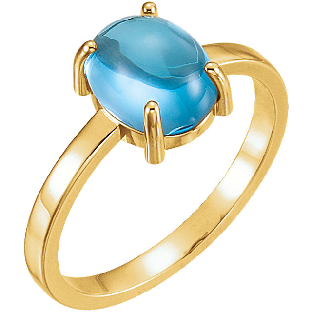 Extraordinary 14 Karat Yellow Gold 9x7mm Oval Genuine Swiss Blue Topaz Cabochon Ring