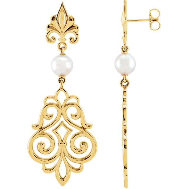 Genuine 14 Karat Yellow Gold Akoya Pearl Decorative Earrings