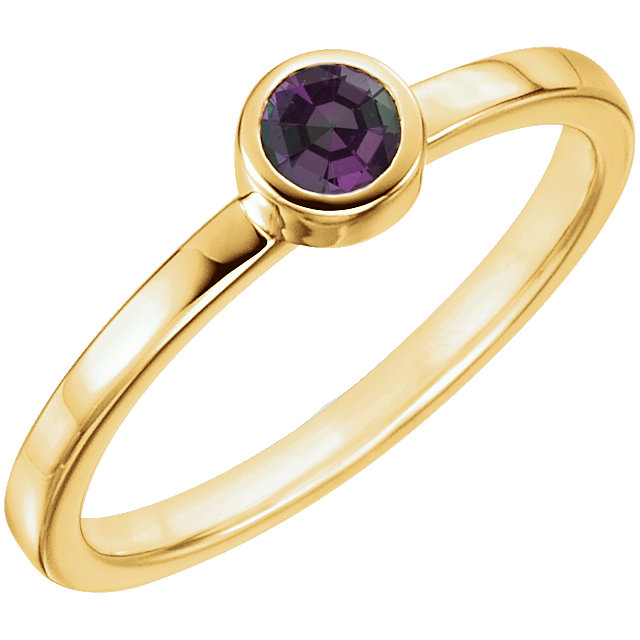 Good Looking 14 Karat Yellow Gold Round Genuine Alexandrite Ring