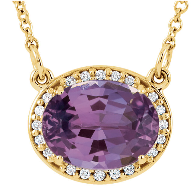 Chic 14 Karat Yellow Gold Oval Genuine Amethyst & .05 Carat Total Weight Diamond 16.5