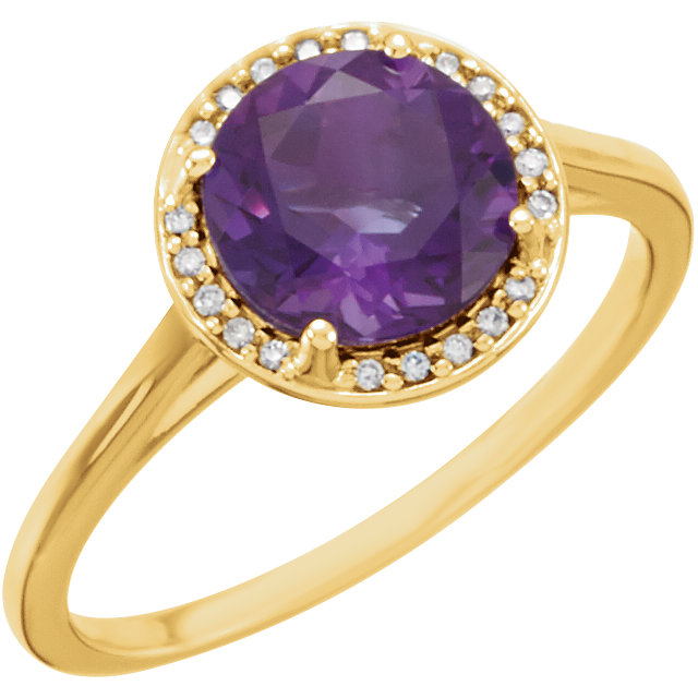 Very Nice 14 Karat Yellow Gold Amethyst & .05 Carat Total Weight Diamond Ring