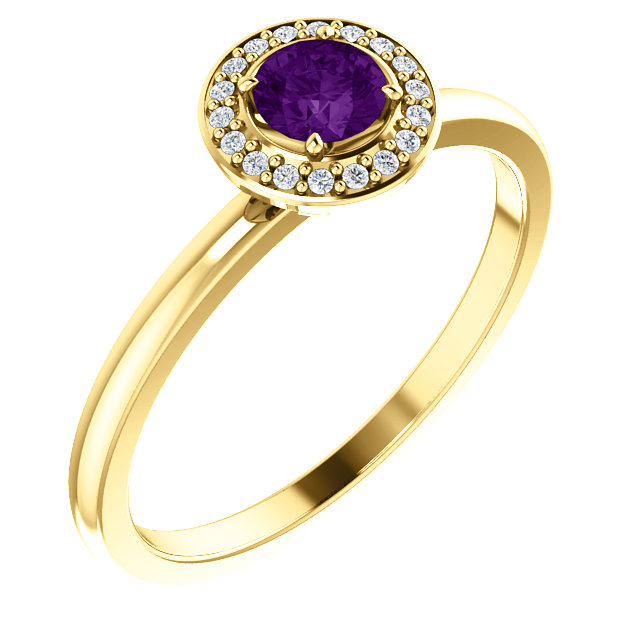 Eye Catchy 14 Karat Yellow Gold Amethyst & .05 Carat Total Weight Diamond Ring
