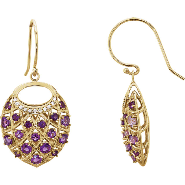 Beautiful 14 Karat Yellow Gold Amethyst & .06 Carat Total Weight Diamond Nest Design Earrings
