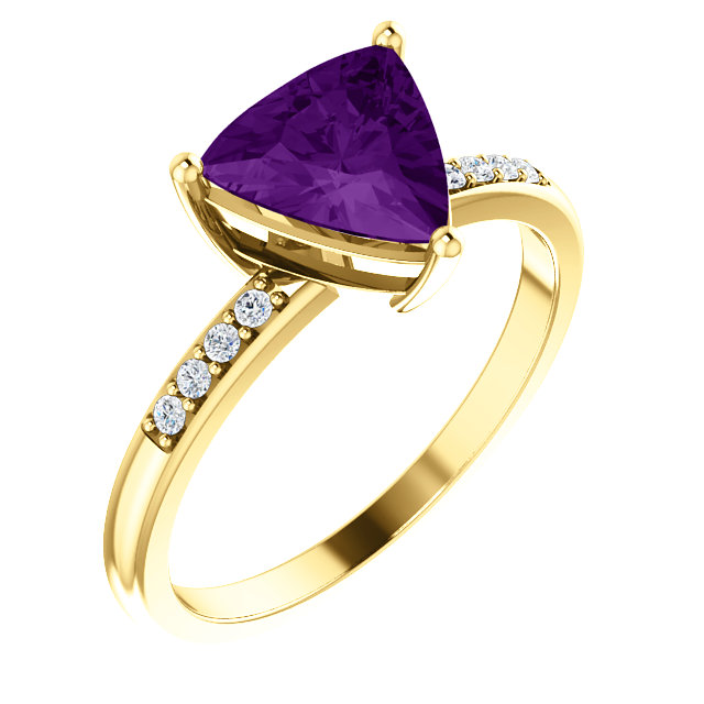 Great Gift in 14 Karat Yellow Gold Amethyst & .08 Carat Total Weight Diamond Ring