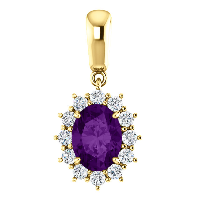 Low Price on Quality 14 KT Yellow Gold Amethyst & 0.33 Carat TW Diamond Pendant