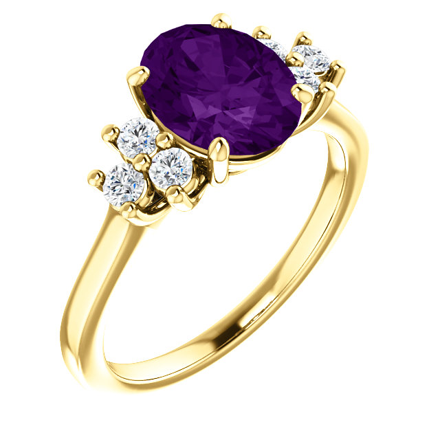 Stunning 14 Karat Yellow Gold Amethyst & 0.25 Carat Total Weight Diamond Ring
