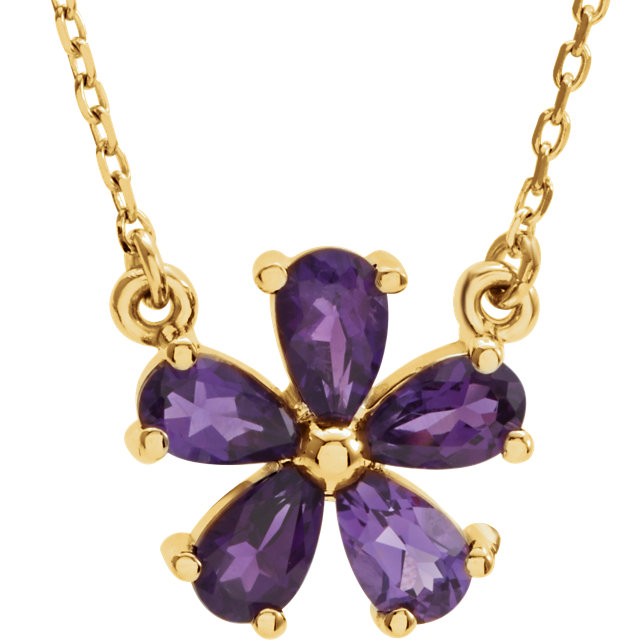 Wonderful 14 Karat Yellow Gold Amethyst 16