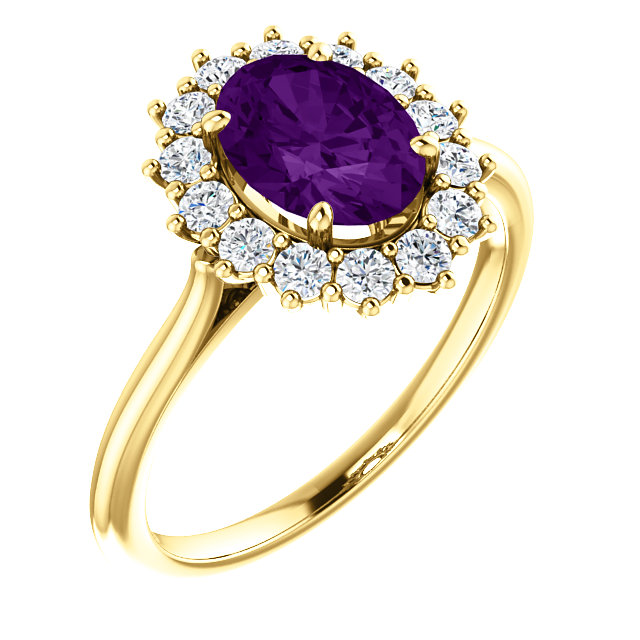 Perfect Gift Idea in 14 Karat Yellow Gold Amethyst & 0.40 Carat Total Weight Diamond Ring