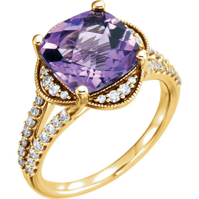 Great Deal in 14 Karat Yellow Gold Amethyst & 0.40 Carat Total Weight Diamond Ring