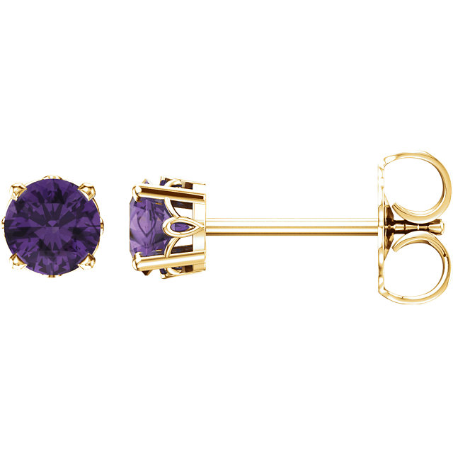 Lovely 14 KT Yellow Gold Round Genuine Amethyst 4-Prong Scroll Setting Stud Earrings