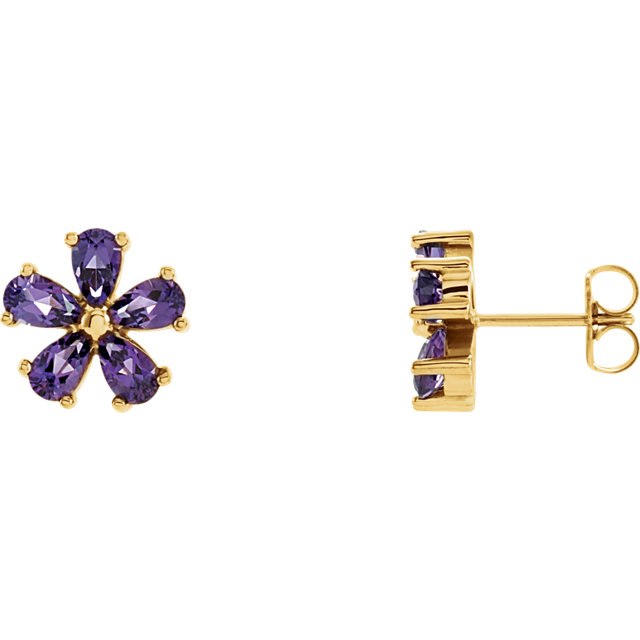 Low Price on Quality 14 KT Yellow Gold Amethyst Earrings