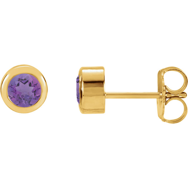 Must See 14 KT Yellow Gold Amethyst Earrings