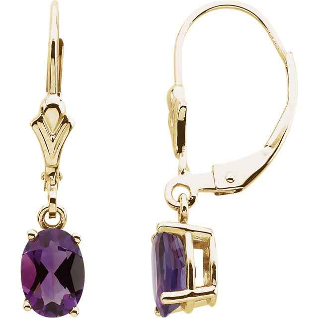 Stunning 14 Karat Yellow Gold Amethyst Earrings