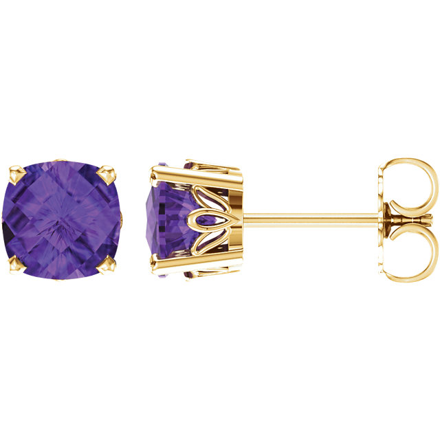 Chic 14 Karat Yellow Gold Amethyst Earrings
