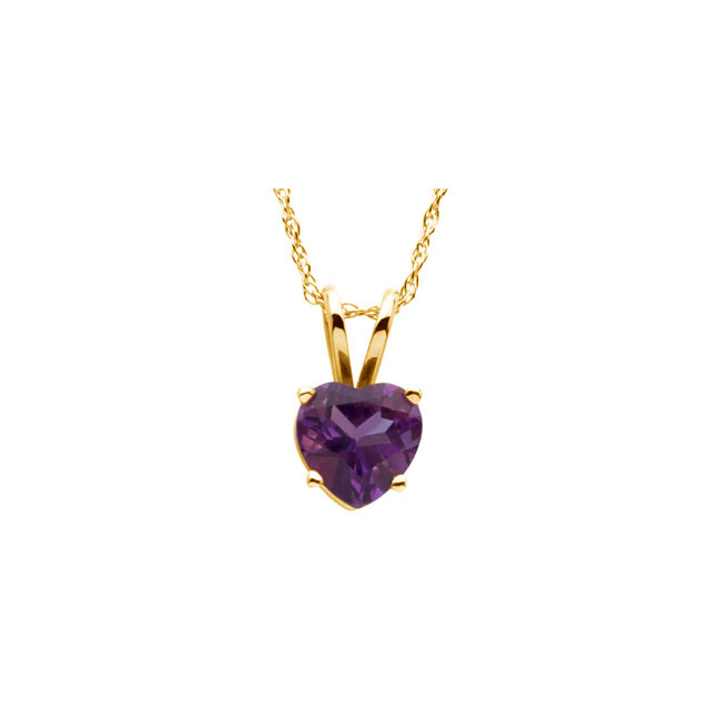 Buy Real 14 KT Yellow Gold 6x6mm Heart Amethyst Solitaire 18