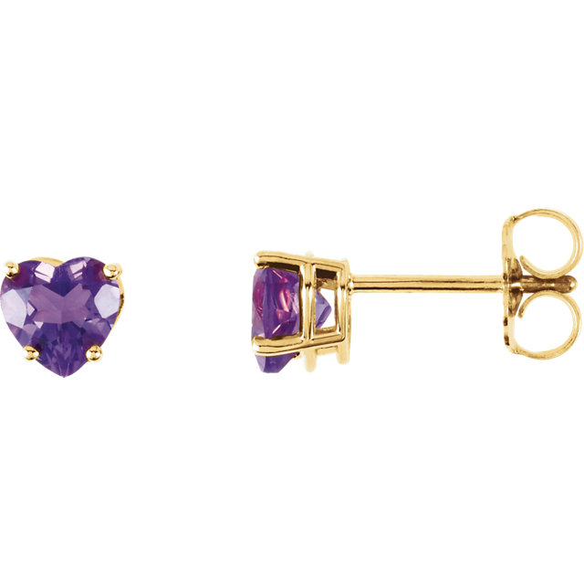 Great Deal in 14 Karat Yellow Gold Amethyst Heart Earrings