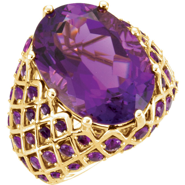 Wonderful 14 Karat Yellow Gold Amethyst Nest Design Ring