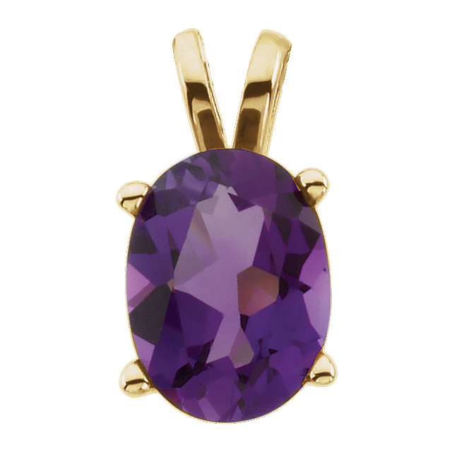 Easy Gift in 14 Karat Yellow Gold Amethyst Pendant