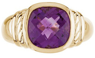 Genuine 14 Karat Yellow Gold Amethyst Ring