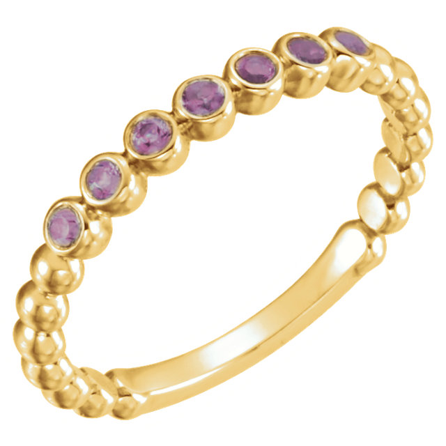 Perfect Gift Idea in 14 Karat Yellow Gold Amethyst Stackable Ring