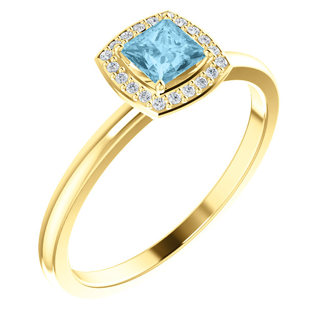 Must See 14 Karat Yellow Gold Aquamarine & .05 Carat Total Weight Diamond Ring