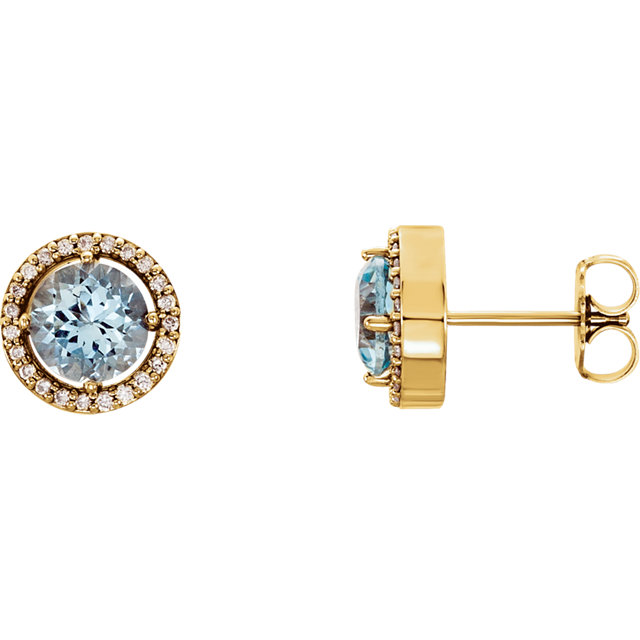 Great Buy in 14 Karat Yellow Gold Aquamarine & 0.17 Carat Total Weight Diamond Earrings