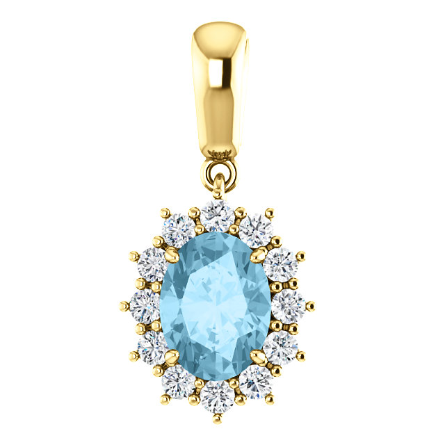 Contemporary 14 Karat Yellow Gold Aquamarine & 0.33 Carat Total Weight Diamond Pendant