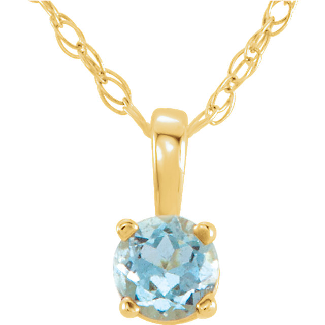 Extraordinary 14 Karat Yellow Gold Round Genuine Aquamarine 14