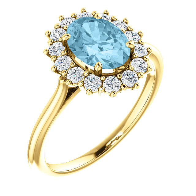 Wonderful 14 Karat Yellow Gold Aquamarine & 0.40 Carat Total Weight Diamond Ring