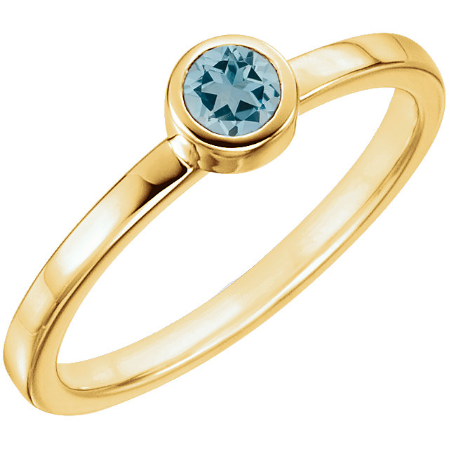 Fine Quality 14 Karat Yellow Gold Aquamarine Ring