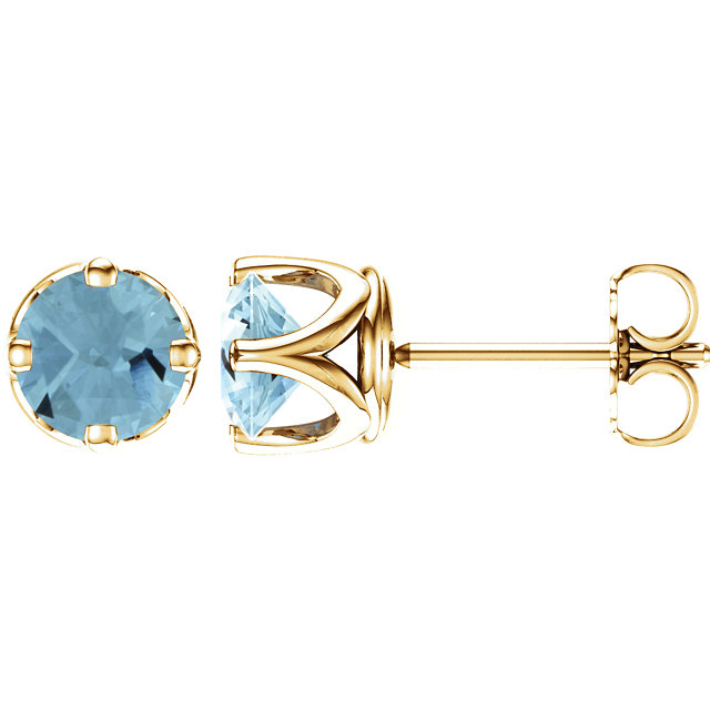 Gorgeous 14 Karat Yellow Gold Aquamarine Earrings