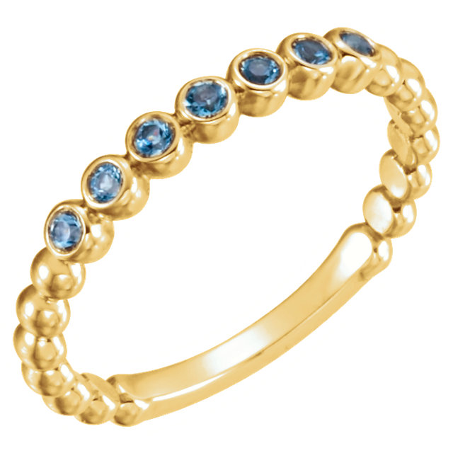 Gorgeous 14 Karat Yellow Gold Aquamarine Stackable Ring