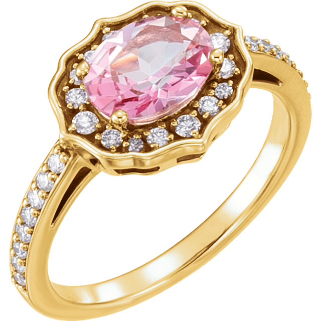 Remarkable 14 Karat Yellow Gold Oval Genuine Baby Pink Topaz & 1/3 Carat Total Weight Diamond Ring