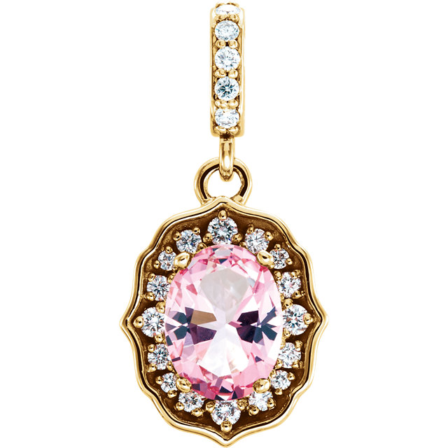 Wonderful 14 Karat Yellow Gold Baby Pink Topaz & 0.17Carat Total Weight Diamond Pendant