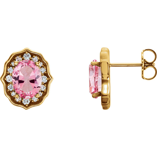 14 Karat Yellow Gold Baby Pink Topaz and 0.33 Carat Diamond Earrings with Backs