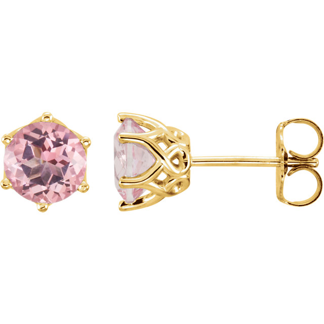 Great Gift in 14 Karat Yellow Gold Baby Pink Topaz Round Earrings