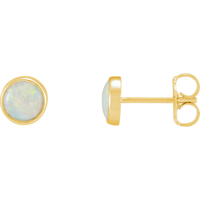 Stunning 14 Karat Yellow Gold Bezel-Set Opal Earrings