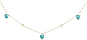 14KT Yellow Gold Blue Pearl Heart 15