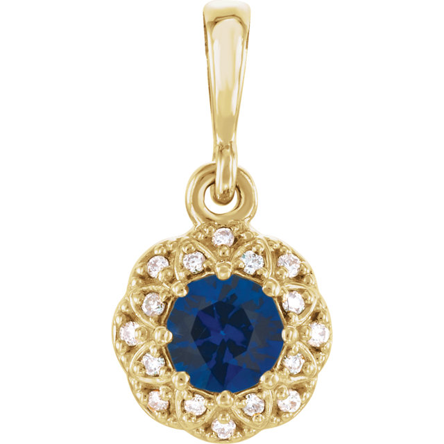 Easy Gift in 14 Karat Yellow Gold Blue Sapphire & .04 Carat Total Weight Diamond Pendant