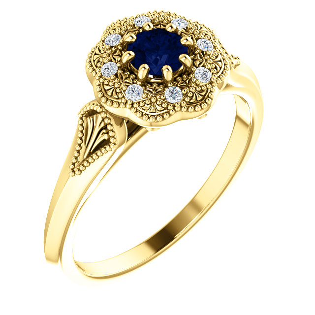 14 Karat Yellow Gold Blue Sapphire & .06 Carat Diamond Ring Vintage-Inspired Halo-Style Ring