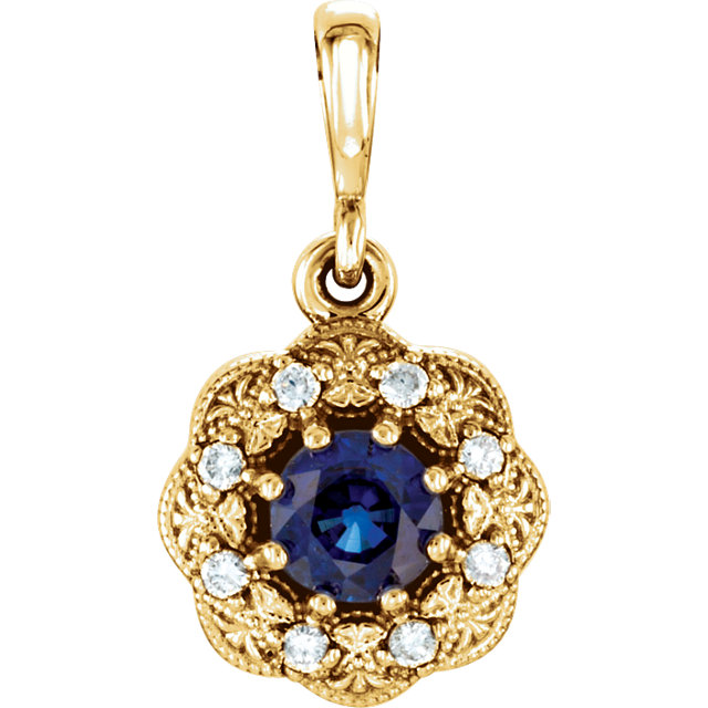 Genuine 14 Karat Yellow Gold Blue Sapphire & .06Carat Diamond Pendant