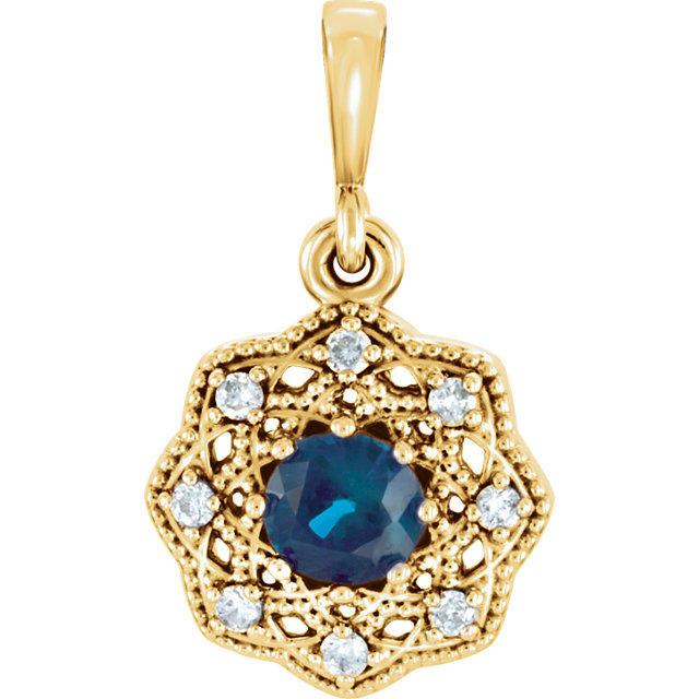 Excellent 14 Karat Yellow Gold Round Genuine Blue Sapphire & .06Carat Total Weight Diamond Halo-Style Pendant