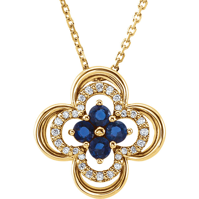 Eye Catchy 14 Karat Yellow Gold Blue Sapphire & 0.10 Carat Total Weight Diamond 18