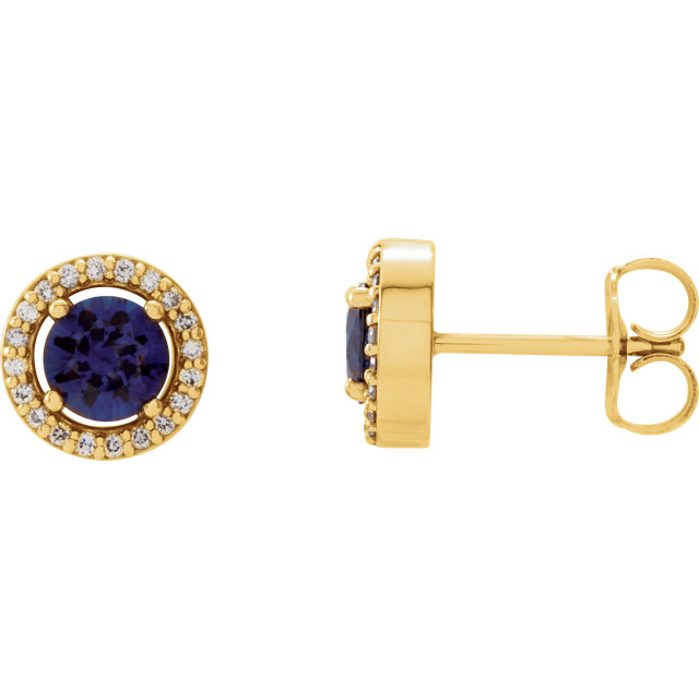 Great Gift in 14 Karat Yellow Gold Blue Sapphire & 0.12 Carat Total Weight Diamond Earrings