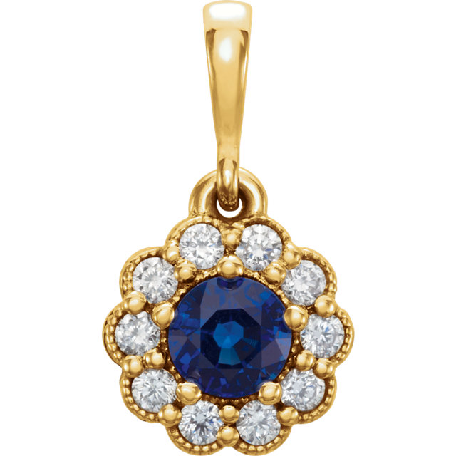 Chic 14 Karat Yellow Gold Blue Sapphire & 0.17 Carat Total Weight Diamond Pendant