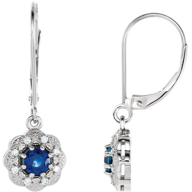 14KT Yellow Gold Blue Sapphire & 1/8 Carat Total Weight Diamond Halo-Style Earrings